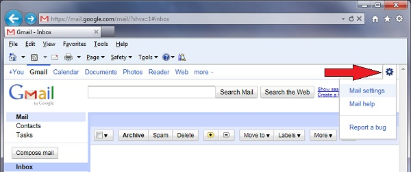 gmail download email from another account