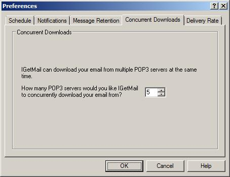 IGetMail downloads email from multiple POP3 servers concurrently.