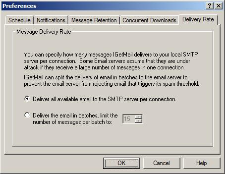 Specify the number of POP3 emails that IGetMail will deliver to your Exchange Server per connection.