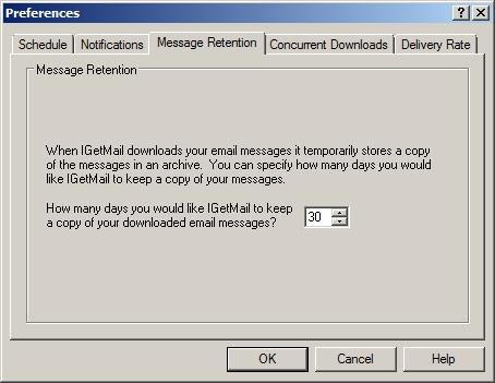 IGetMail temporarily stores a copy of email downloaded from POP3 servers for a number of days that you specify.