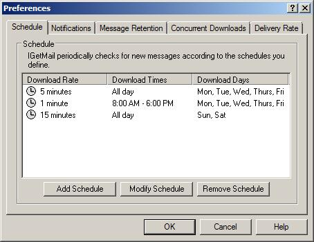 IGetMail checks for new POP3 email to download according to the time schedules you define.