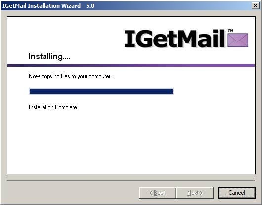 The IGetMail installation progress bar.
