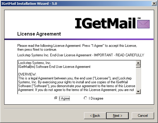 IGetMail License Agreement Screen