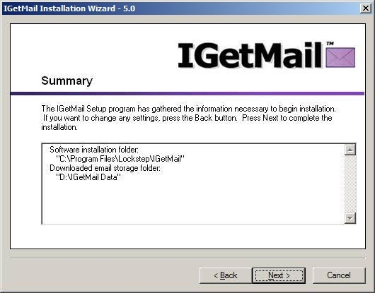 The IGetMail Summary dialog allows you to review installation information before software is copied to your computer.